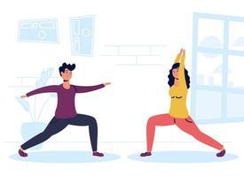 pareja haciendo ejercicio en casa vector