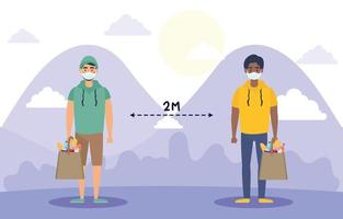 People with face masks practicing social distancing outdoors vector