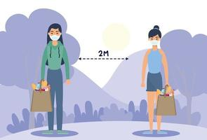 Women with face masks practicing social distancing outdoors vector