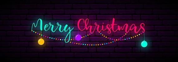 Festive neon banner with inscription Merry Christmas vector