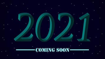 Blue 3d 2021 text effect in sky with stars