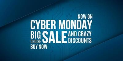 Cyber Monday advertising banner design. vector
