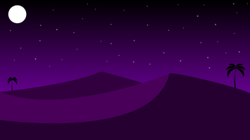 Desert night landscape with sand and palm trees vector