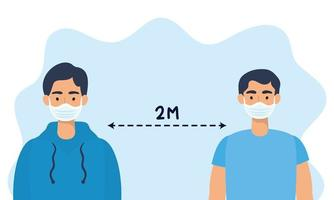 Men with face masks practicing social distancing vector