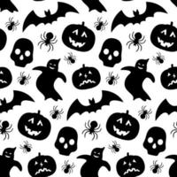 Pattern with pumpkin, bat, ghost and skull silhouettes vector