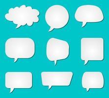 Set of white blank speech bubbles