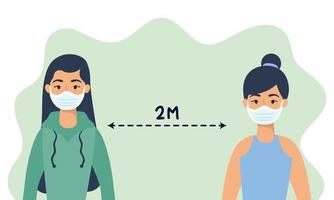 Women with face masks practicing social distancing vector