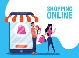 banner de compras online y comercio electrónico. vector
