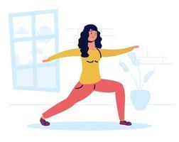 mujer practicando ejercicio en la casa vector