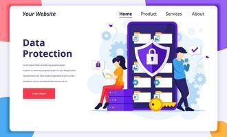 concepto de protección de datos, personas que protegen datos en un teléfono inteligente