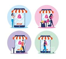 Online shopping and e-commerce icon set vector