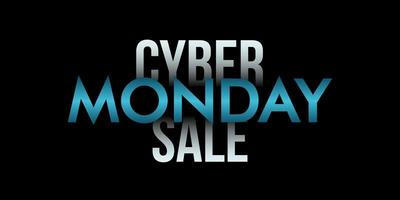 Cyber monday sale inscription on black background.