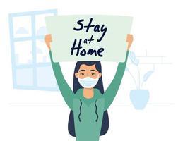 mujer sosteniendo un cartel de quedarse en casa