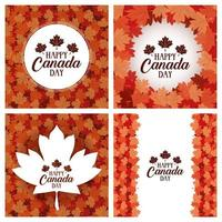Happy Canada Day banner set with maple leaves