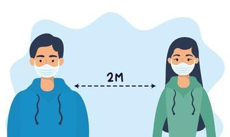 People with face masks practicing social distancing vector