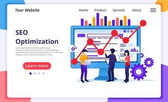 SEO Analysis concept, people working with data vector