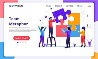 Team work concept, people connecting piece puzzle elements. business leadership, partnership. Modern flat web page design for website and mobile website development. Vector illustration