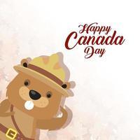 feliz día de canadá celebración banner con castor