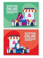 conjunto de banners de compras en línea y comercio electrónico. vector