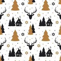 Christmas seamless pattern with deer in Scandinavian style. vector