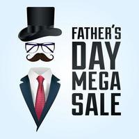 banner de venta del día del padre con accesorios de caballero.