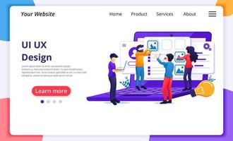 UI UX design concept, people creating an application design vector