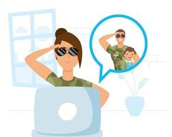 Military woman in a video call with her family vector