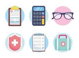 Conjunto de iconos de concepto de servicio de seguro de salud