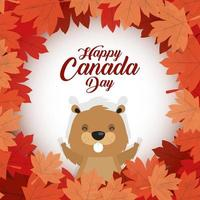 Happy Canada Day celebration banner with beaver