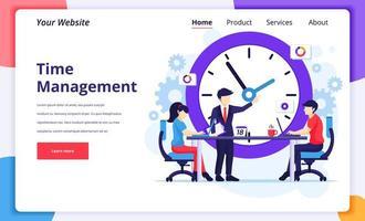 concepto de gestión del tiempo, personas que planifican un horario de trabajo vector
