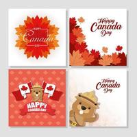 Happy Canada Day celebration banner set