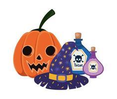 Halloween pumpkin cartoon witch hat and poison bottles