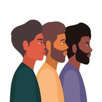 dibujos animados de hombres en diseño de vista lateral
