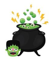 Halloween frankenstein cartoon with witch bowl design