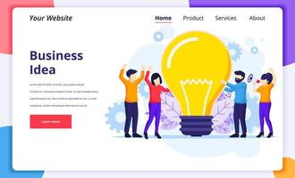 Business idea concept, people holding a giant lightbulb vector