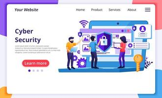 concepto de ciberseguridad, trabajadores protegiendo datos