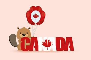Happy Canada Day celebration banner with beaver vector