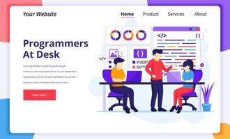 personas que codifican y programan en el trabajo vector