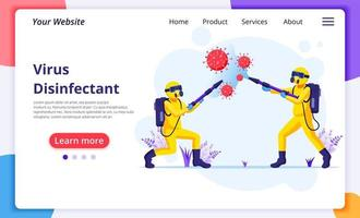 Disinfectant worker in hazmat suits sprays cleaning and disinfecting covid-19 coronavirus cells. disinfect protection from virus concept. Modern flat web landing page design template. Vector illustrat