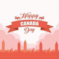 feliz día de canadá celebración banner con paisaje urbano
