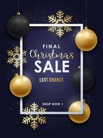 Diseño de rebajas navideñas con adornos navideños dorados y negros.