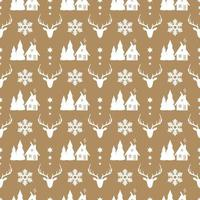Christmas seamless pattern with deer, snowflake and wood house. vector