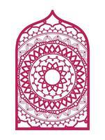 Mandala in frame pink design vector