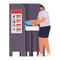 Hombre votando con cabello castaño en la cabina de votación vector