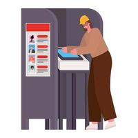 Woman voting with safety helmet in voting booth