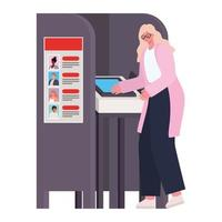Woman voting with pink coat at the voting booth