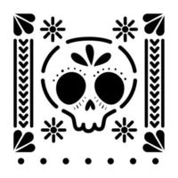 Mexican skull icon with small suns vector