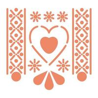 Mexican salmon color heart icon with small suns vector