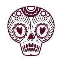 cráneo del día muerto con corazones en los ojos vector