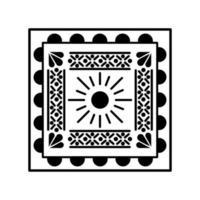 Mexican sun icon in square vector